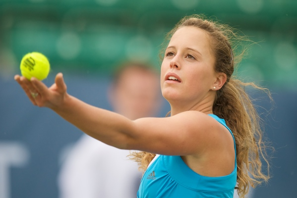 LIVERPOOL, ENGLAND - Wednesday, June 17, 2009: Michelle Larcher De Brito (POR) during Day One of the Tradition ICAP Liverpool International Tennis Tournament 2009 at Calderstones Park. (Pic by David Rawcliffe/Propaganda)
